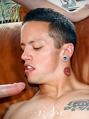 Tyler throws Taylor down on a leather couch, ripping off his shorts to reveal a cock worthy of some sweet talk