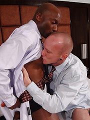 Business men, explore each other with tongue, lips, and hands