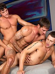 Bareback threesome between Brandon, Peter and Duncan