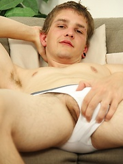 Beautiful college boy Sam Forte strokes his uncut dick.