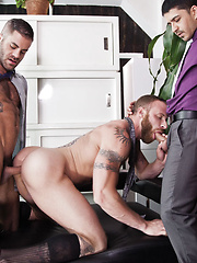 Derek Parker, Marcus Isaacs, and BJ Rhubarb Fuck Bareback After a Meeting