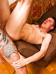 Twink Cherry Popped By Super Hung, Tattooed Muscle Brute
