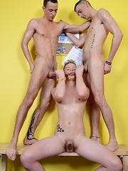 Cocky Young Blond Lad Gets All His Holes Filled By His Swim-Team Fuck Buddies!