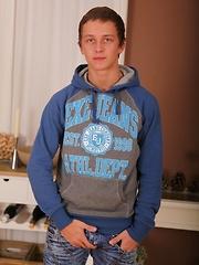 Super cute college boy Thomas Swings busts a nut.
