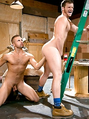 Brian Bonds steadies himself against a stepladder as crew-cut Zack Taylor massages his hole with a gloved fist